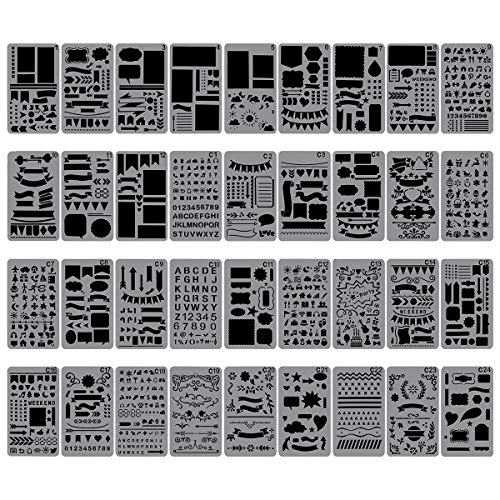 - Biubee 36 Pcs Plastic Stencils Over 1500 Different Patterns - 4