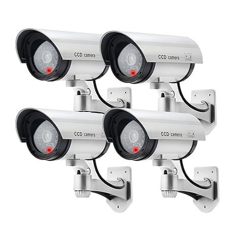 Cámara de seguridad exterior falsa falso artificial CCTV Seguridad Cámara exterior de vigilancia con LED roja