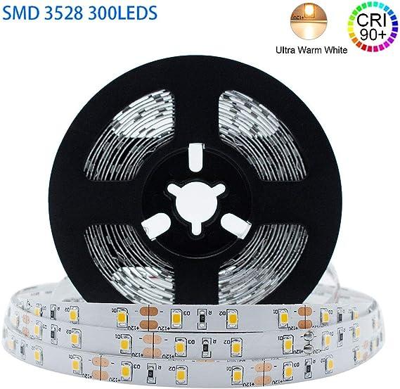 Super Bright LED Strip Light 2835 UL Listed 16Ft 24VDC Warm White 3000K 576 LED