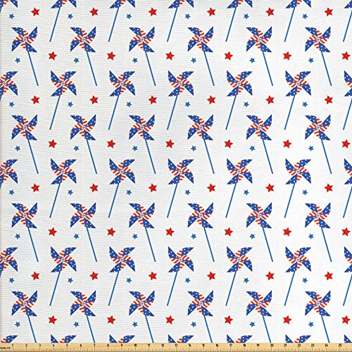Ambesonne 4th of July Fabric by the Yard, Pin Wheels with Fl