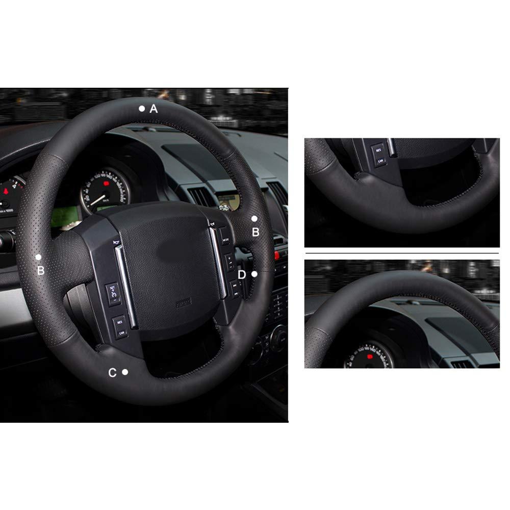 HCDSWSN Cubierta del Volante del Coche de Cuero Artificial Negro para Land Rover Freelander 2 2007-2012