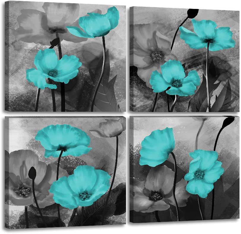 """Teal Flower Canvas Wall Art Teal Grey Painting 4 Pieces Abstract Floral Wall Decor Flowers Poster Pictures Prints Teal Wall Decor for Bathroom Bedroom Office Home Framed Ready to Hang-12""""x12""""x4"""