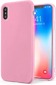 TENOC Phone Case Compatible for Apple iPhone Xs and iPhone X/10, Slim Fit Cases Soft TPU Bumper Protective Cover, Glossy Pink