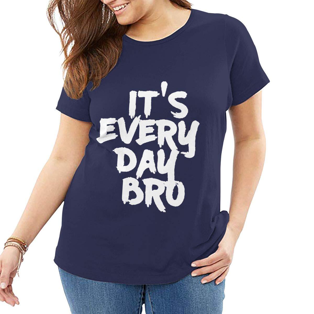 Fat Women's T Shirt Jake Paul It's Every Day BRO Tee Shirts T-Shirt Short-Sleeve Round Neck Tshirt for Women Girls Navy 5XL by BKashy