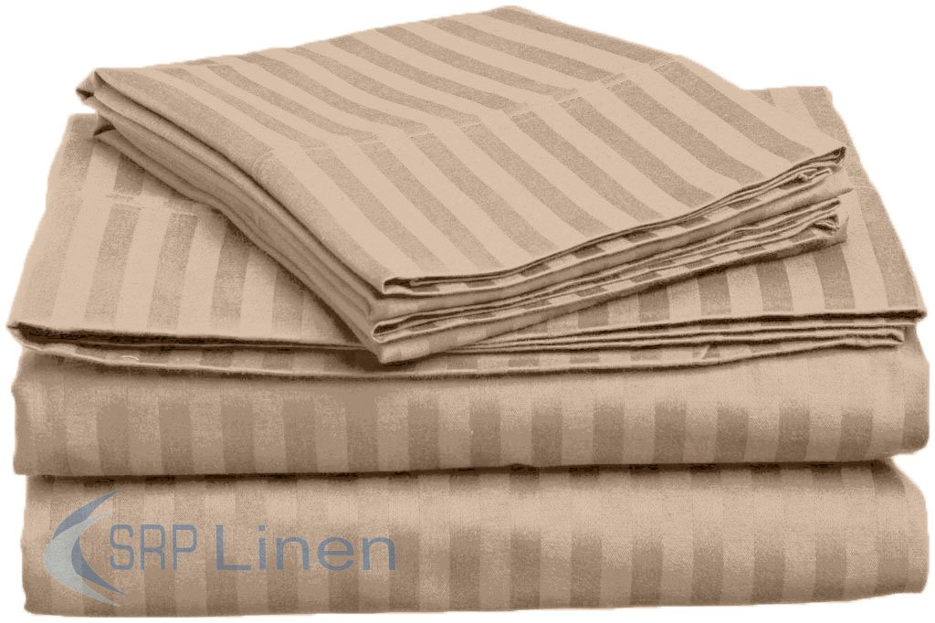 Luxurious Fitted sheet Taupe Stripe Egyptian Cotton 600-TC Extra Deep Pocket