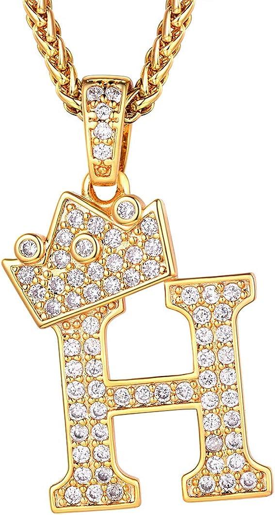 Richsteel Iniciales Oro baño Cadena Colgantes A - Z con circonitas cubicas Collar Dorado para Hombres Mujeres Gratis Caja de Regalo