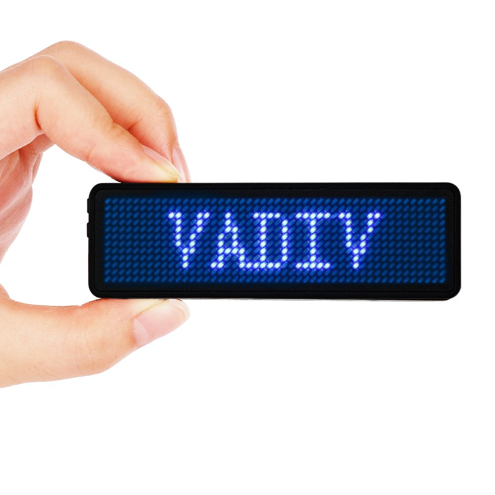 VADIV LED Name Tag Business Badge RechargeableNametag Card ID withMagnet/Pin for Restaurant Shop Party Bar Luggage Bag (Windows Only),48x12 Pixels Blue
