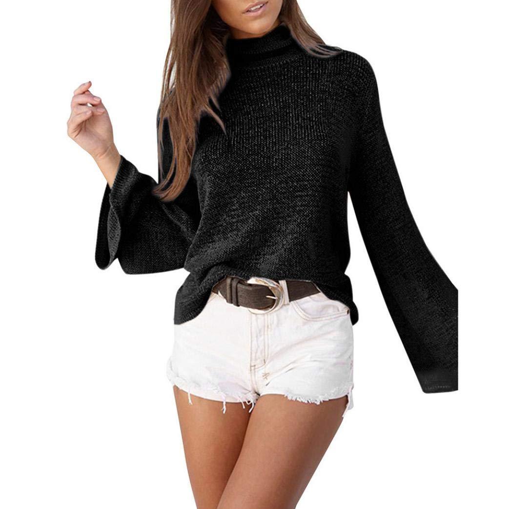 Pandaie Women Jacket,Women Turtleneck Long Sleeve Knit Pullover Loose Sweater Jumper Tops Blouse BK/M