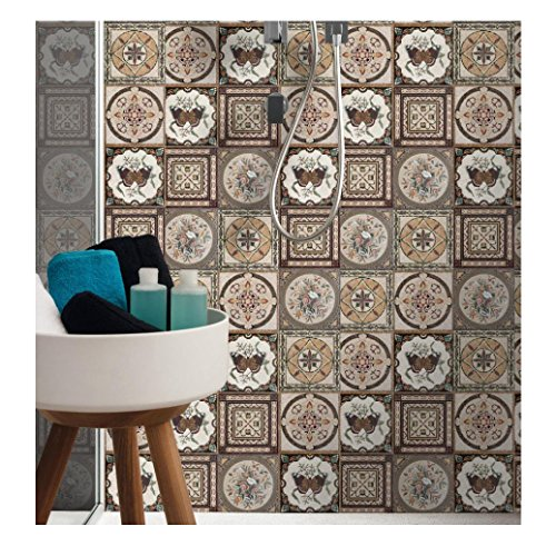 Hometom Tile Stickers 8x8 Inch 16pc Kitchen Backsplash Bathroom Vinyl Waterproof Peel and Stick Talavera C