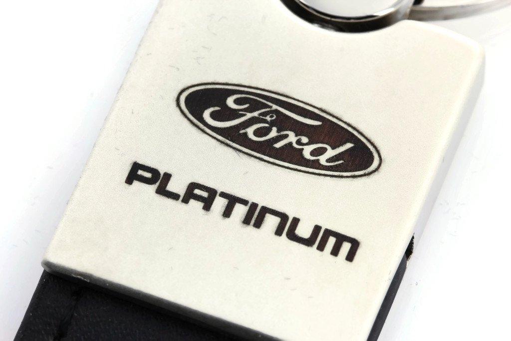 Ford Platinum Black Leather Chrome Car Fob Key Chain Ring INC Au-Tomotive Gold