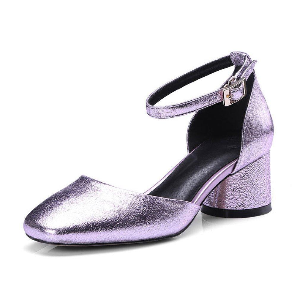 MUYII Damen Fruuml;hling Und Sommer Sandalen Damen Leder Flach Knouml;chelriemen Schuhe  38|Pink
