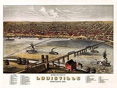 Historic Map of Louisville Kentucky 1876 Louisville Jefferson County (24x36 Paper Poster)