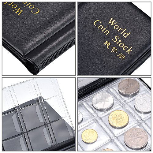 Hotop 120 Pockets Coin Holder Collection Coin Storage Album Book for Collectors, Money Penny Pocket (Black) Photo #6