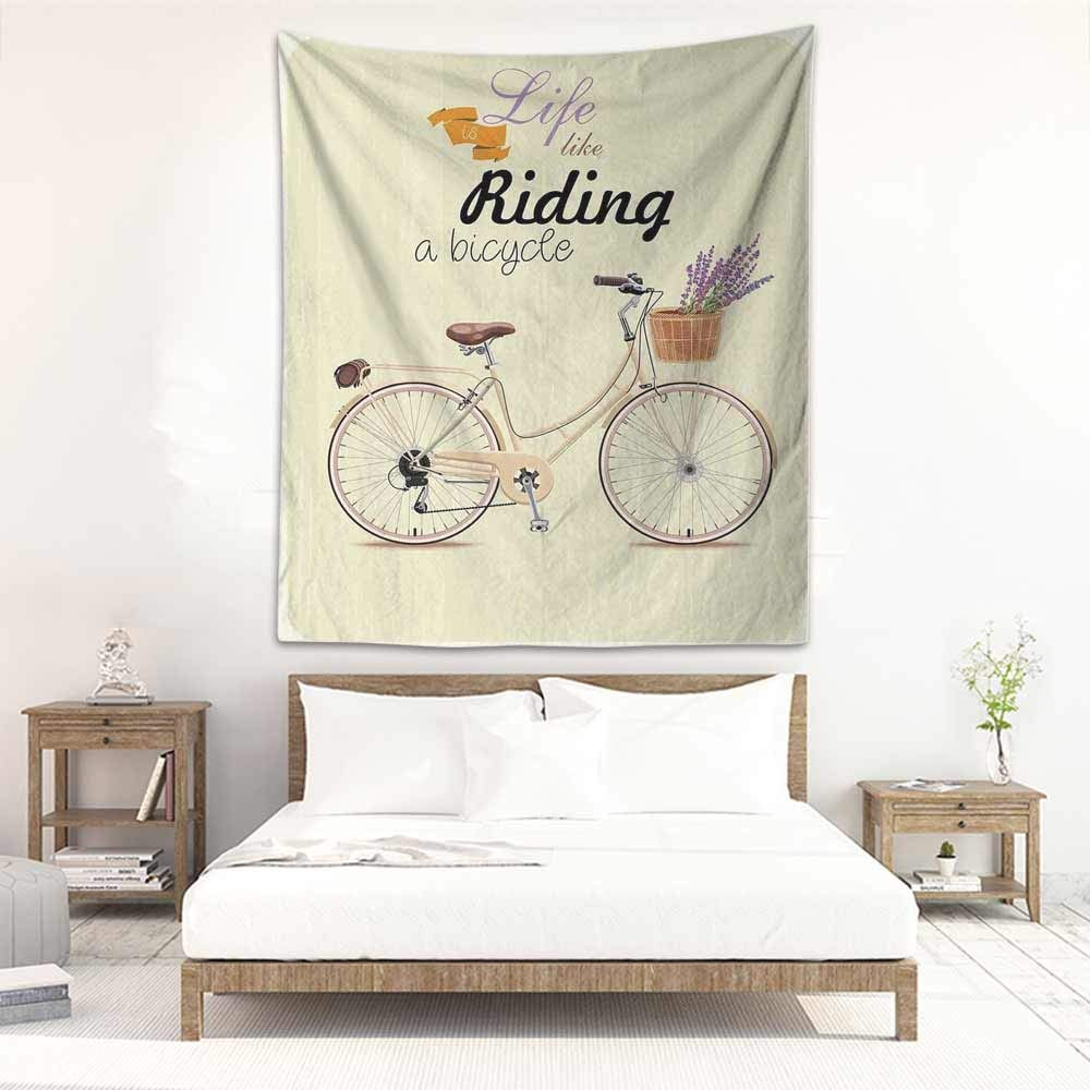 Godves Large Wall Tapestry Bicycle Boho Pop Art Antique Bike Illustration with an Aesthetic Lavender Bouquet Basket Stylish Minimalist Fresh Style 70''x93'' Beige Lilac by Godves