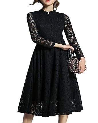b2b985388165 Aofur Elegant Women s Floral Black Lace Long Sleeve A Line Maxi Summer  Cocktail Party Dress Size 8-24