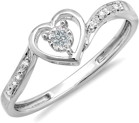 9 CT Oro 0.15 CT Diamante 5 Piedra Anillo De Damas Talla K