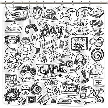Riyidecor Kids Video Game Boys Shower Curtain Weighted Hem Black and White Sketch Funny Graffiti Decor Fabric Panel Bathroom Set 72x72 Inch 12 Pack Plastic Shower Hooks