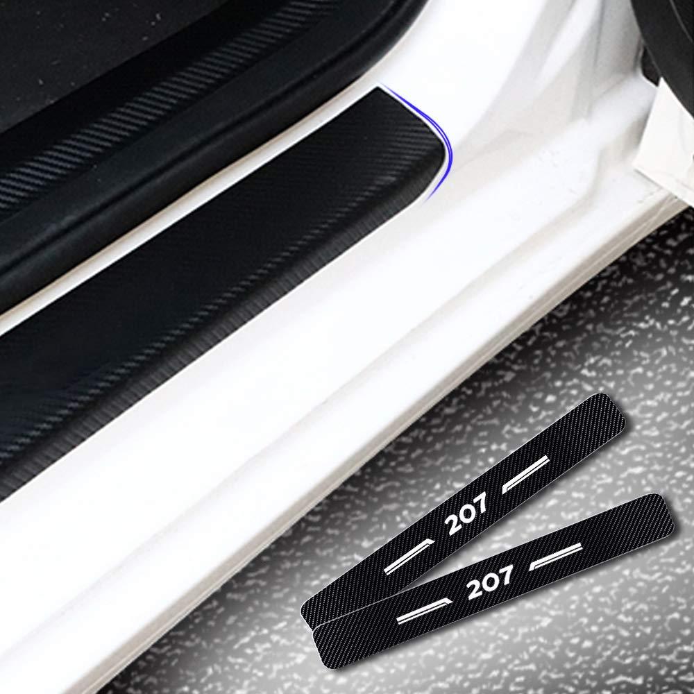 8X-SPEED pour 207 4D Seuil de Porte Voiture Fibre de Carbone R/éfl/échissant Autocollant,Protection Seuil P/édale Prot/éger Car Styling 4 Pi/èce Blanc