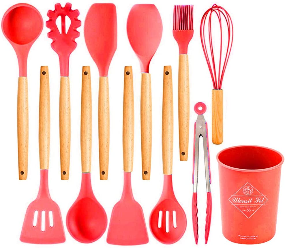 Cooking Utensils 12 Pcs Kitchen Tools with Natural Wooden Handles for Home Household Apartment Essentials Nonstick Cookware Tongs Spatula Spoon Set (red)