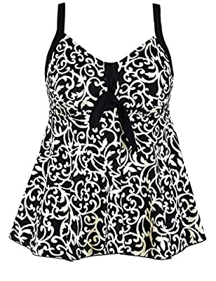 Hilor Women's Plus Size Flowy Tankini Set Tie Front Two Piece Swimsuits with Swim Briefs
