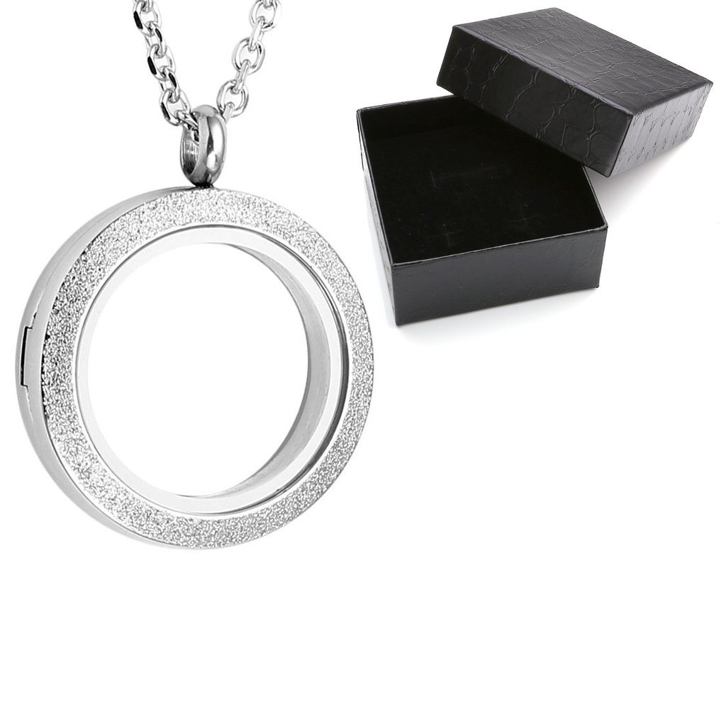Zysta Stainless Steel Silver, Gold, Black, Rainbow Matte Round Living Memory Floating Charm 25MM 30MM Locket Pendant Necklace, 24 Inches Chain + Gift Box