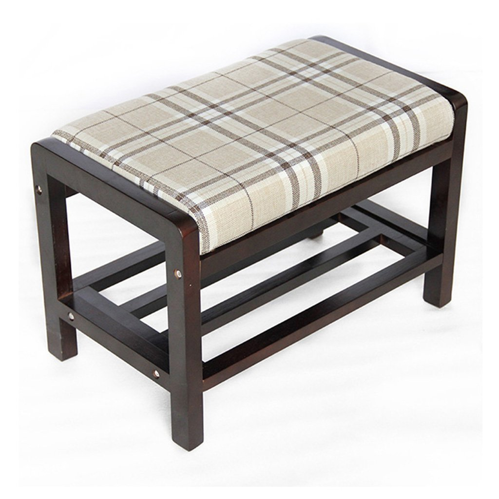 A Change shoes Bench - Solid Wood Fabric Storage Stool Sofa Stool Modern Minimalist Assembly Simple shoes Rack Wear shoes Bench Foot (color   A)