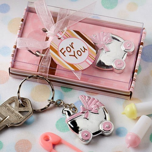 Pink Baby Carriage Design Key Chains, Pack of -