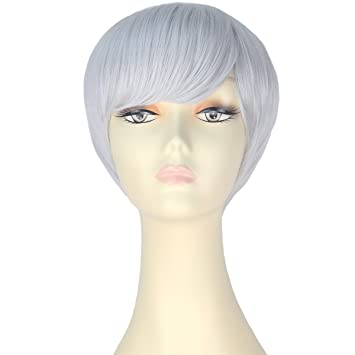 Amazon.com   Miss U Hair Girl Short Straight Wig Fashion Party Cosplay Costume  Wig Hair Daily Wear ... (Silver Grey)   Beauty 7b5b801acd64
