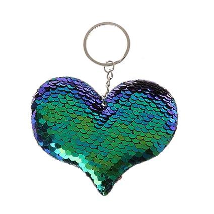 Dabixx Sirena Lentejuelas Felpa Llavero Pompom Felpa Reversible Glitters Bolsa Decoración Joyería Azul