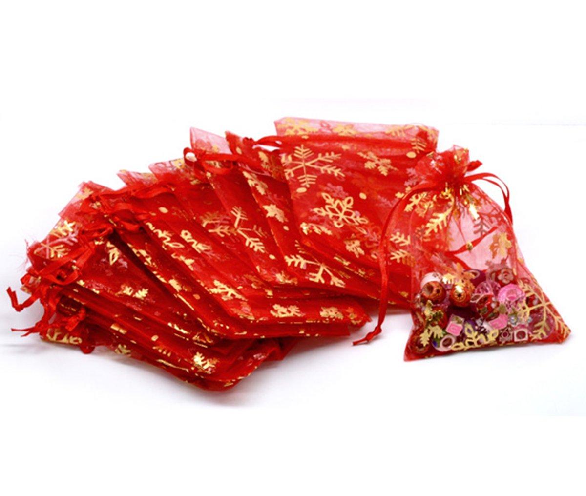 HooAMI 100Stk. 9cm x 12cm Rot Orange Organza Säckchen mit Gelb Schneeflocke Geschenkbeutel Beutel Weihnachten Säckli BETY19609
