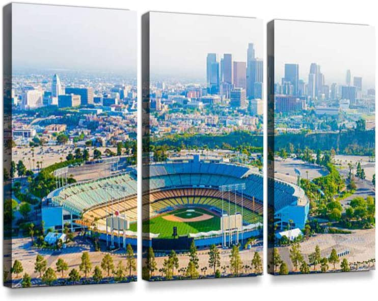 Los Angeles California Panoramic Skyline Cityscape Aerial Over Dodger Stadium Print On Canvas Wall Artwork Modern Photography Home Decor Unique Pattern Stretched and Framed 3 Piece