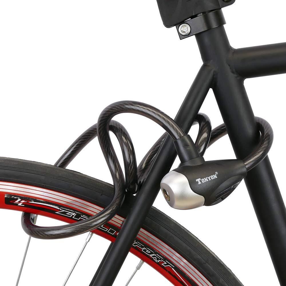 PrimeMatik Cable antirrobo de Acero y candado para Bicicleta 12x1200mm Llave