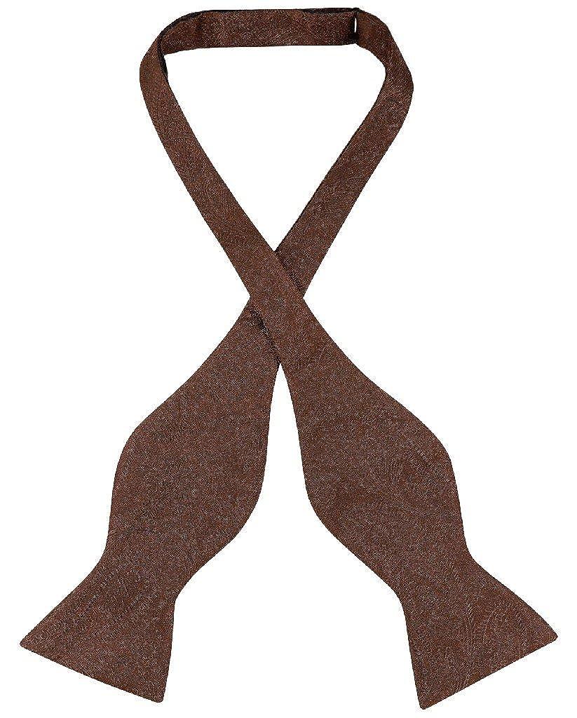 Vesuvio Napoli SELF TIE Bow Tie DARK BROWN Color PAISLEY Design Mens BowTie