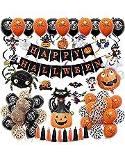 73 Stks Halloween Decoraties Set met Pompoen Kat Spider Ghost Heks Folie Ballonnen Happy Halloween Banner Zwart Oranje Latex Confetti Ballonnen Pack voor Bar Thuis Indoor Kinderen Kids Feestbenodigdheden