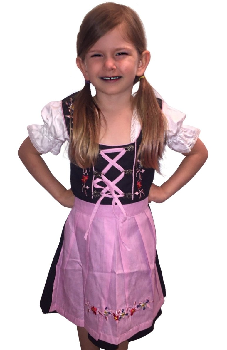 Dirndl World Childrens Dik01, German Bavarian 3 Piece Children Dirndl Dress for Oktoberfest, Blouse, Apron, Size 8