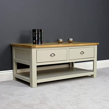 Aspen Home Coffee Table.Aspen Painted Oak Sage Grey 2 Drawer Coffee Table Storage With Shelf Living Room Furniture