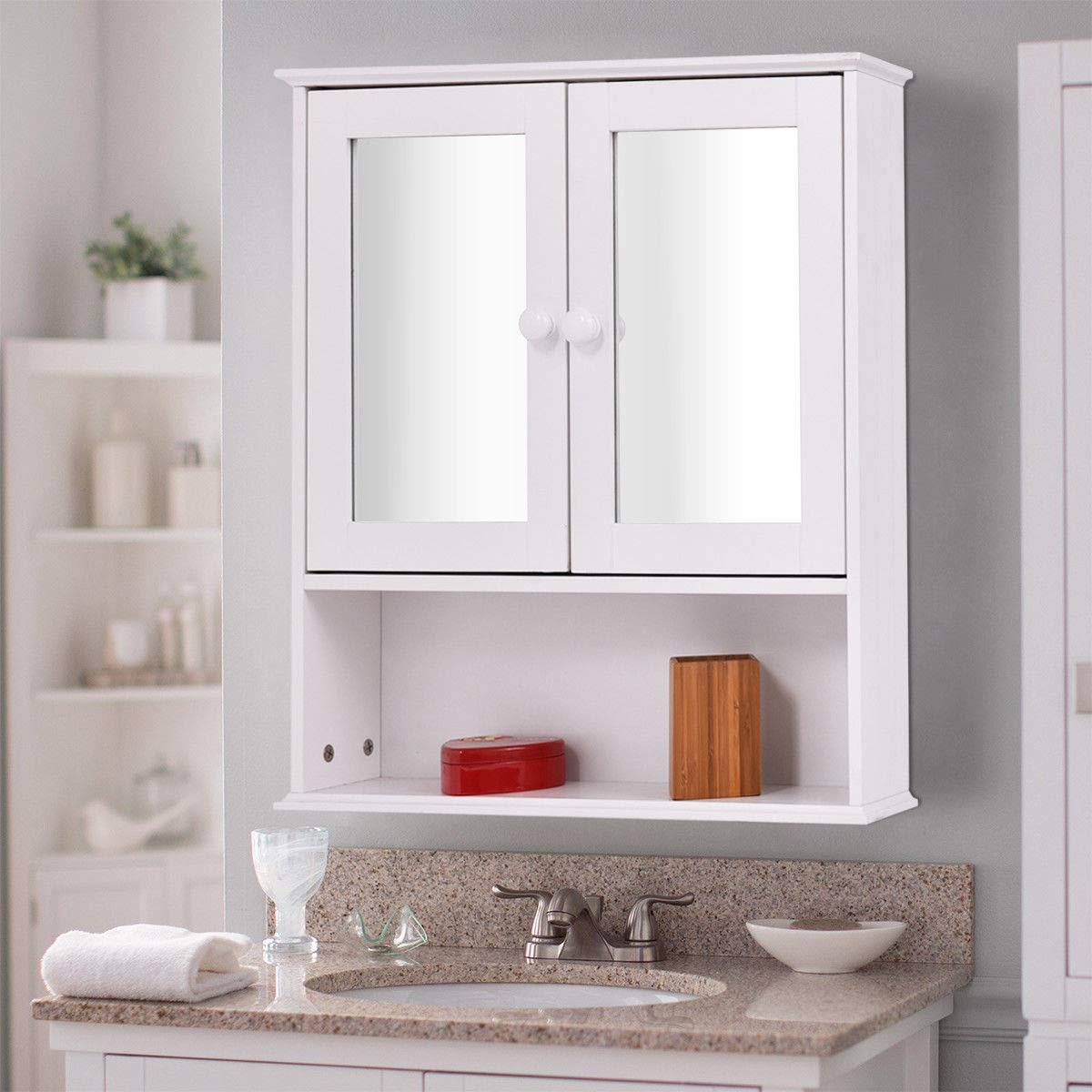 Amazon.com: TANGKULA Bathroom Cabinet Double Mirror Door Wall Mount ...