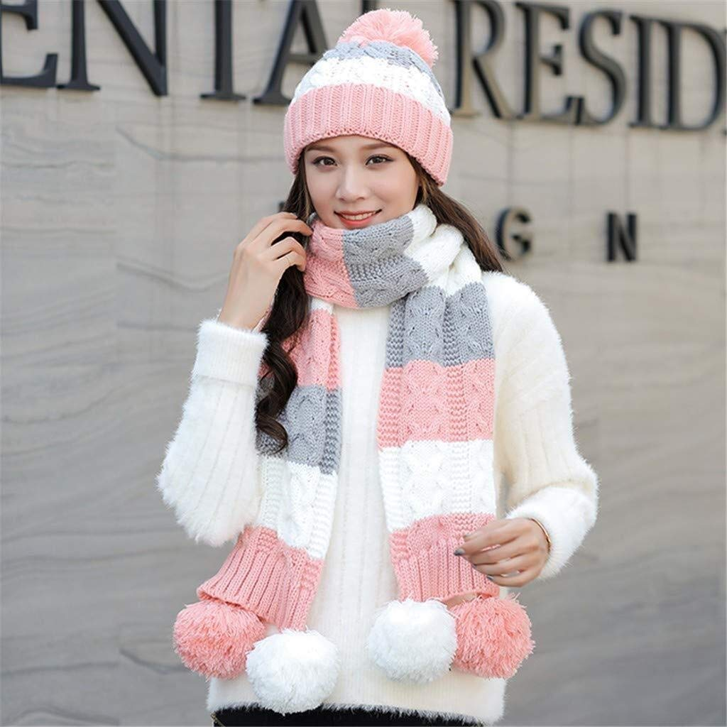 Tuyishangmao Winter Cap Set, Cute Simple Casual Two-Piece Windproof Scarf Hat Set (Color : Pink, Size : M)
