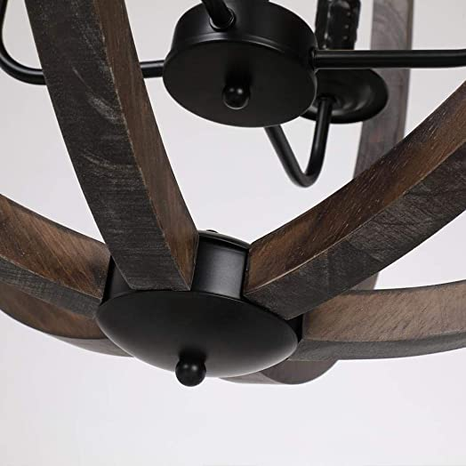 Arteolamp 28.75″ X31″ Farmhouse Pendant Light Orb Chandelier Light Wood Wooden Frame Iron Band Sphere Globe Ceiling Light Fixture 4 Lamp