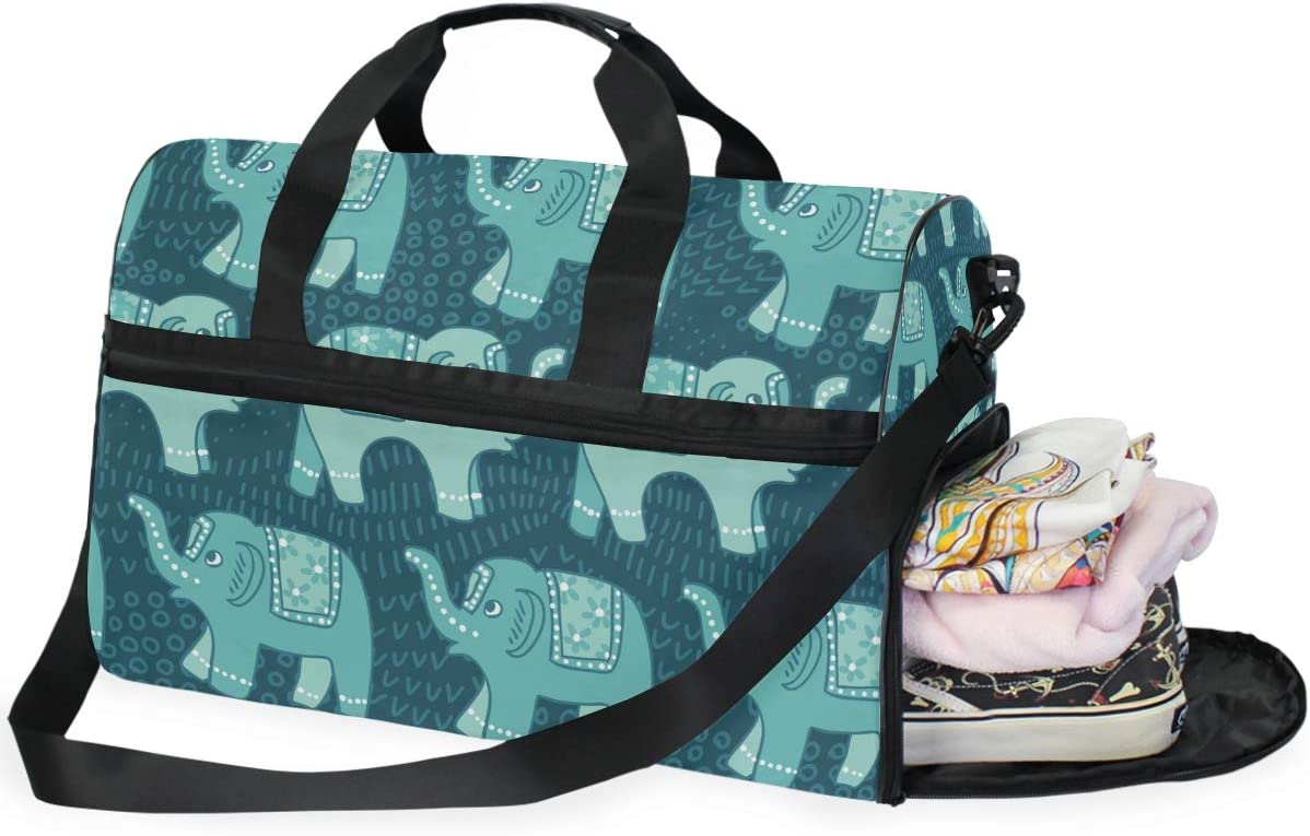Elephant Patterns Sports Gym Bag with Shoes Compartment Travel Duffel Bag for Men and Women