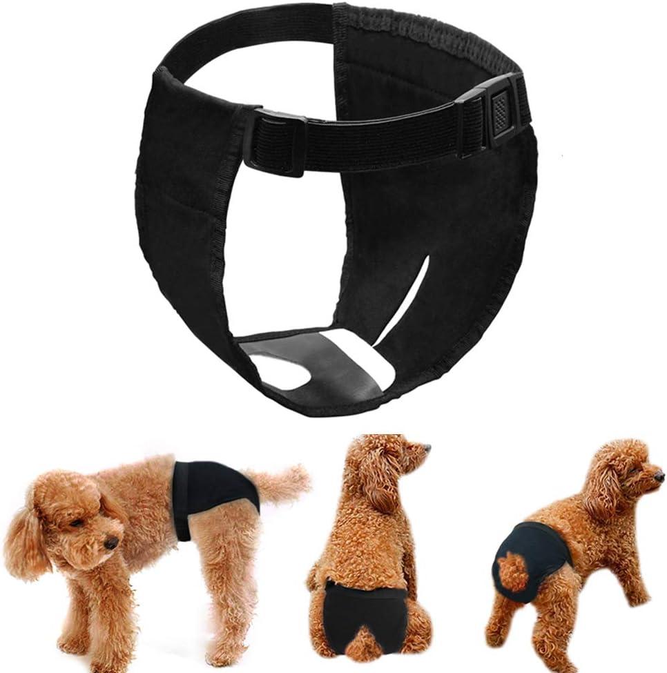 LeerKing Pañales Reutilizables para Perras Bragas Periódicas para Perra Lavable Paquete de 3, Negro XL