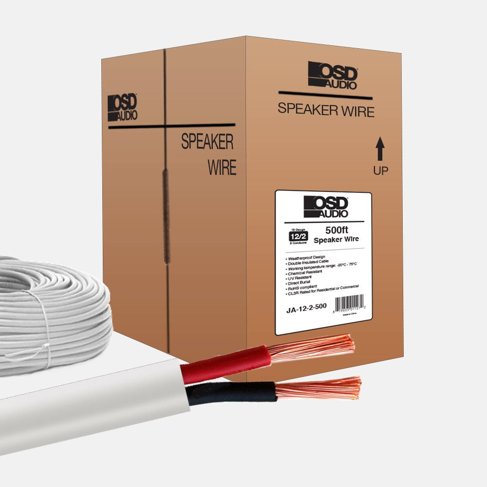 12AWG Indoor Outdoor Oxygen Free Direct Burial and In-Wall Installation Copper Free UL Listed CL3 Rated 2-Conductor Speaker Wire, 500-Feet - OSD Audio