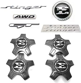 Fits: KIA 2018+ Stinger Genuine OEM Front Rear 19 Wheel Caps Emblem Stickers Decal Set 7pcs
