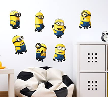 Decals Design Minions with Several Expressions Design Wall Sticker (PVC Vinyl, 50 cm x 70 cm x 50 cm), Multicolour