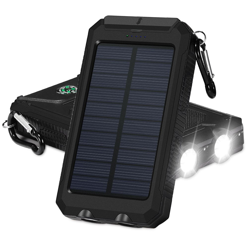Grde Solar Charger Beswill 10000mah Dual Usb Ports Ip67 Powered Arduino Weather Station Li Ion Battery Water Resistant Portable Power Bank Phone With 2 Flashlights Carabiner