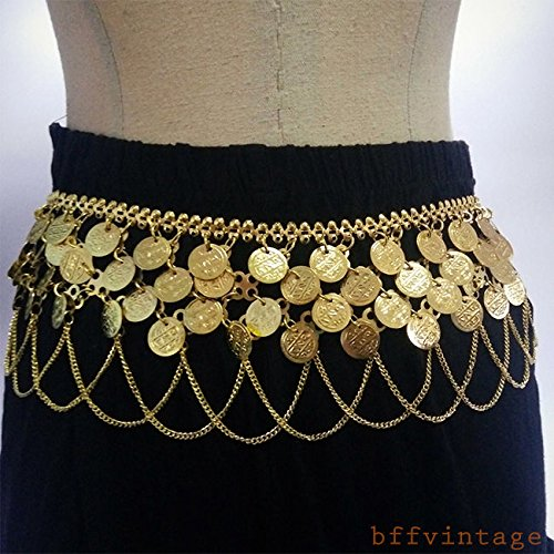 Making Supplies Dance Belly Costume (Vintage_Gold_Plated_Drop_Coin_Belly_Dance_Club_Waist_Scarf_Hip_Costume_Belt FGHTRN#)