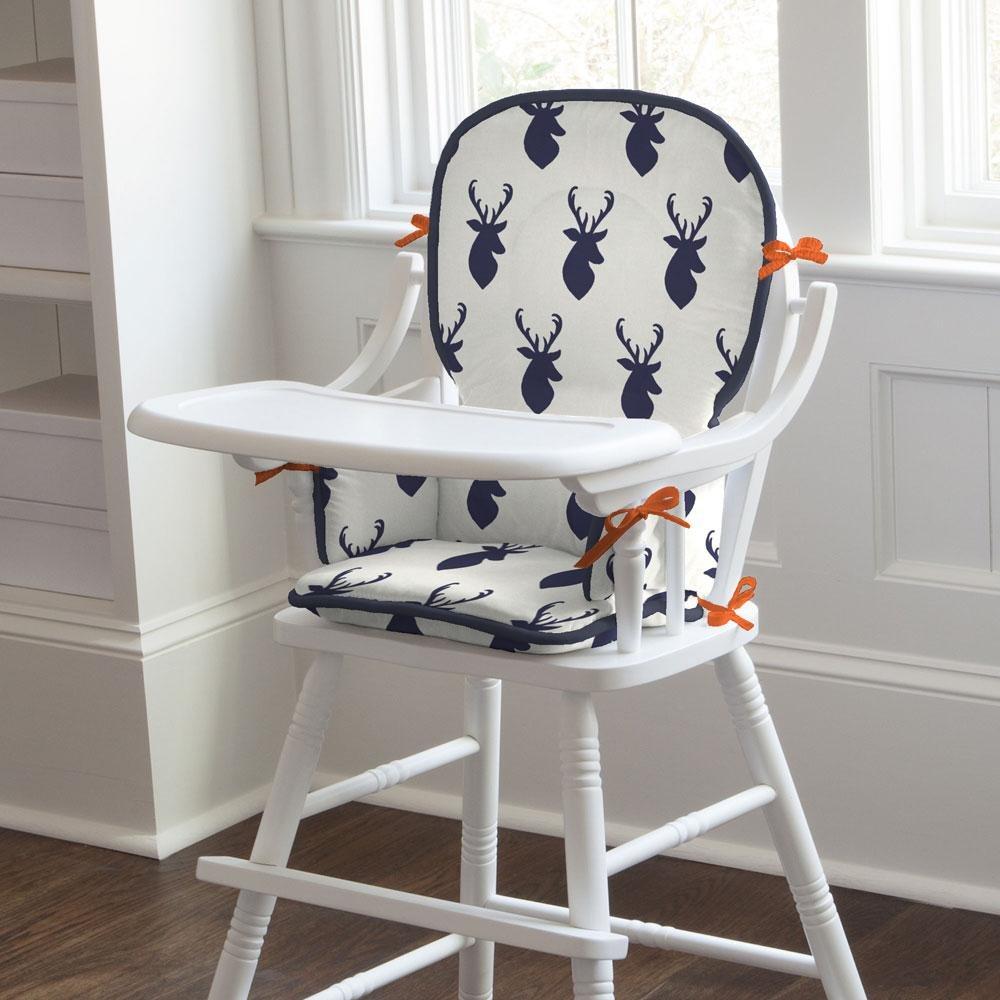 Carousel Designs Navy Deer Woodland High Chair Pad