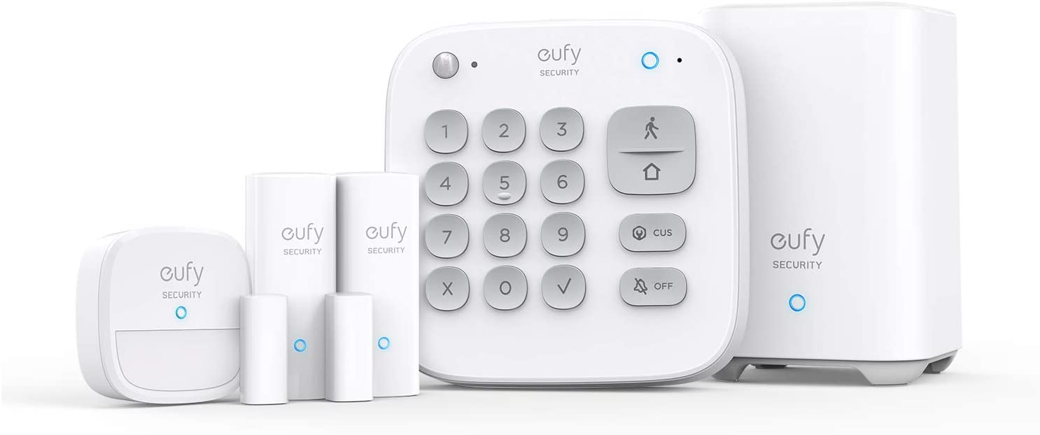 eufy Security 5-Piece Home Alarm Kit, Home Security System, Keypad, Motion Sensor, 2 Entry Sensors, Home Alarm System, Control from The App, Links with HomeBase-Connected Devices