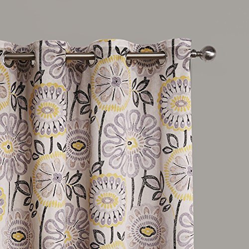MICHELE HOME FASHION 25 (Set of 1 panel) (84″ W x 108″ L) Grommet Top Contemporary Print Abstract Artistic Blossom Blackout Lining Window Treatment Draperies & Curtains Panels