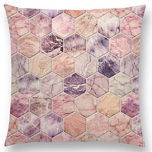 Hot Sale 2018 Gradient Rainbow Pastel Watercolor Moroccan Hexagon Pattern Colorful Gemstone Crystal Cubes Cushion Sofa Throw Pillow 003-1 Pc. Filling not included